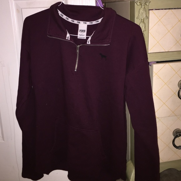58% off PINK Victoria's Secret Sweaters - Maroon curved hem half ...