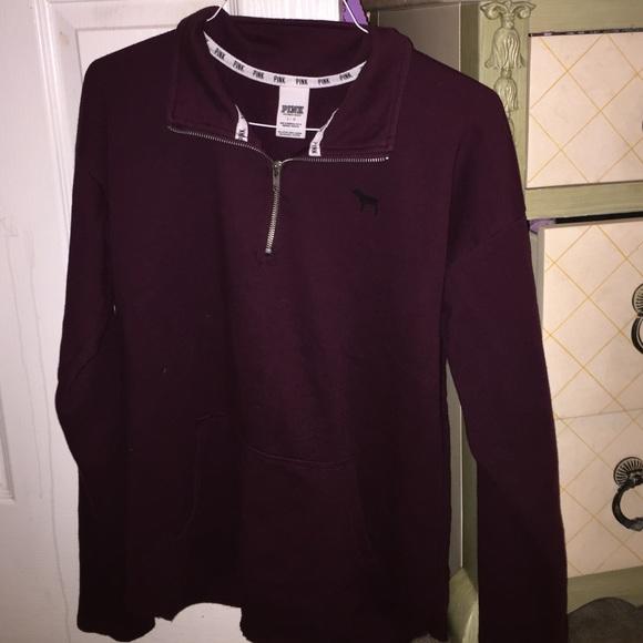 58% off PINK Victoria's Secret Sweaters - Maroon curved hem half ...