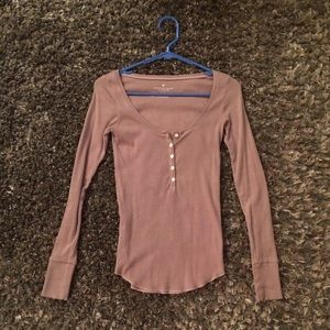American Eagle Mauve Half Button Up Top