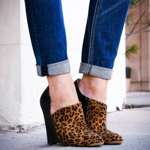 Shoe Dazzle Shoes - Leopard & Black Leather Pointed Toe Wedges
