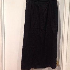 Black maxi linen skirt