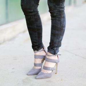 JustFab Shoes - Grey Suede Buckle Strap Pointed Toe Heels