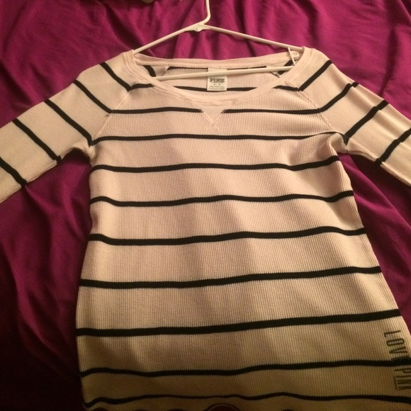 e3695f6b PINK Victoria's Secret Tops | Rosy Pink Striped Long Sleeved Tshirt ...