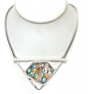 Jewelry - Large Abalone Geometric Statement Silver Necklace