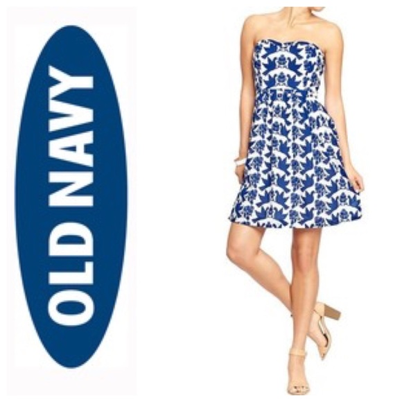 Old navy red dress white birds