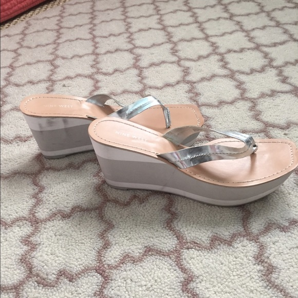 80 Off Nine West Shoes - Nine West Silver White Wedge -5314