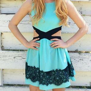 Flirty Cut out Blue Dress