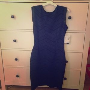 Navy and black dress with leather accents