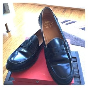 Church's Shoes - Navy leather loafer.