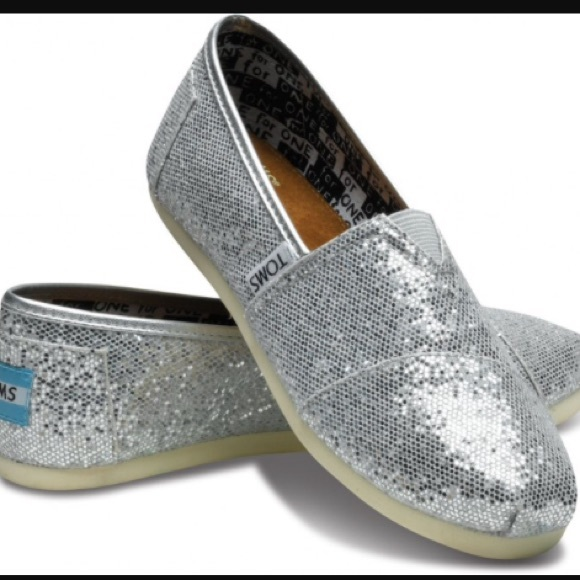 a09a8f0f1708 TOMS Shoes - Toms silver sparkle glitter youth girls 3.5