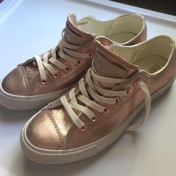 12daa963586 Converse Shoes - Rose Gold Converse All Stars - metallic croc