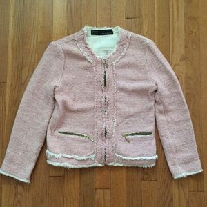 Zara Jackets & Blazers - Zara Pink Tweed Blazer Jacket with Frayed Hem M
