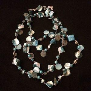 Teal Beaded Necklace and Bracelet Set