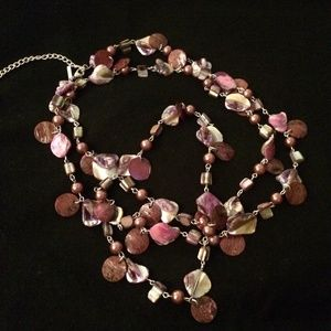 Purple Beaded Necklace and Bracelet Set
