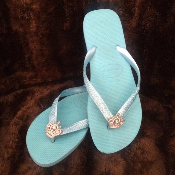 18af35a72ef3ed Havaianas Shoes - Havaianas turquoise flip flops w jewel crown