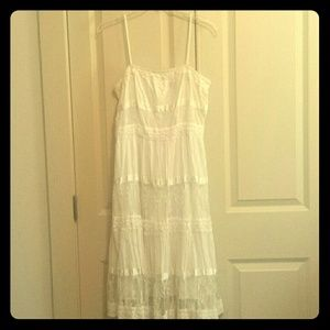 Vintage white summer dress with lace and sequins