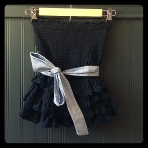 Abercrombie & Fitch Navy Strapless Top with Tie