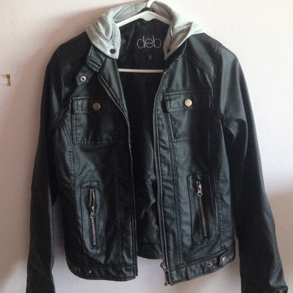 Deb - Black faux leather jacket w/ hoodie from Maya's closet on ...