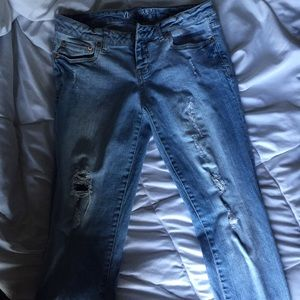 Destroyed Light Wash Jeans