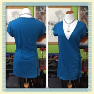Anchor blue Tops - NWOT 100% cotton wrap style top