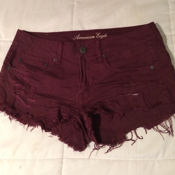 75% off American Eagle Outfitters Denim - AE maroon Jean shorts ...