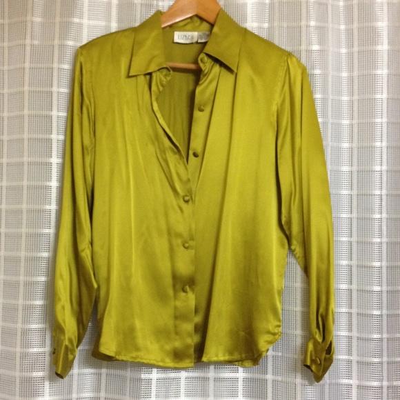 7241cd3346e6b Lizden Tops - Chartreuse Silk Blouse