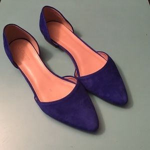 J.Crew suede d'orsay flats in deep violet - size 6