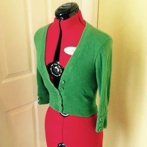 Wet Seal Sweaters - Green Bolero Cardigan