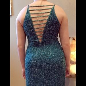 Scala Dresses & Skirts - Full length beaded teal green evening gown