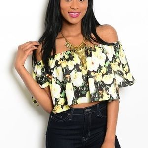 Black & Yellow Floral Crop Top