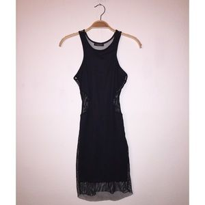 Nasty Gal black cut-out mesh dress - size XS