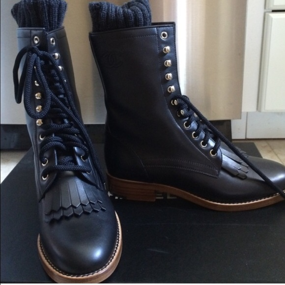 chanel combat boots. chanel shoes - lambskin combat boots chanel o