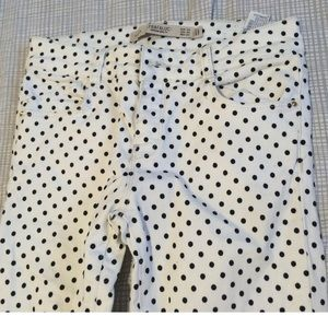 Zara white with black polka dots skinny jeans