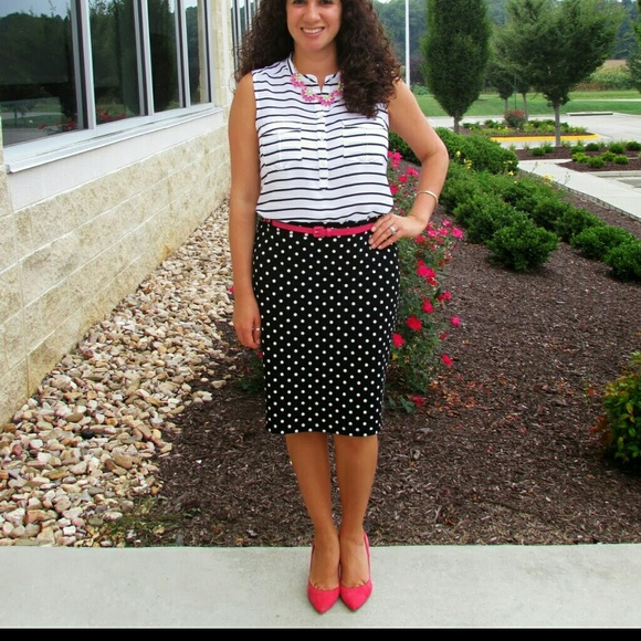 9790888241 H&M Dresses & Skirts - SALE H&M Black and White Polka Dot Pencil Skirt