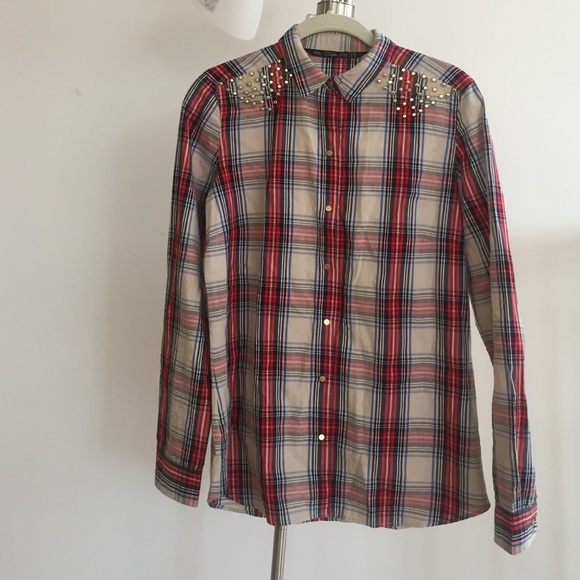 53 off zara tops plaid shirt with stud detailing from op 39 s closet on poshmark. Black Bedroom Furniture Sets. Home Design Ideas