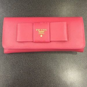 94% off Prada Clutches \u0026amp; Wallets - Prada Saffiano Bow Continental ...