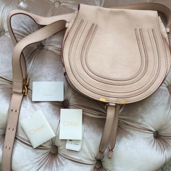 chloe marcie replica handbags - 50% off Chloe Handbags - Chloe Marcie crossbody saddle bag blush ...