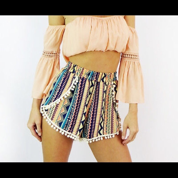 Pants - TRIBAL HIGH WAIST HIPPIE BOHO SHORTS POM POM M