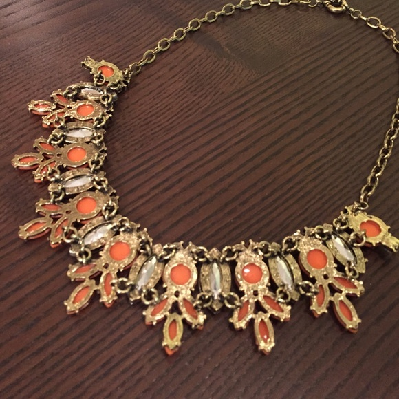 Jewelry - Gold and Orange Statement Necklace
