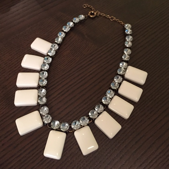 Lily Wang Jewelry - White Rhinestone Statement Necklace