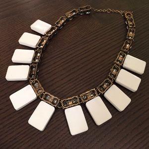 Lily Wang Jewelry - White Rhinestone Statement Necklace
