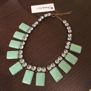 Lily Wang Jewelry - Mint Rhinestone Statement Necklace