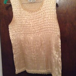 Tops - Gold frilled tank top with lace trim