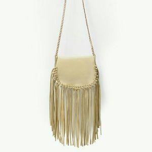 Zara leather messenger bag