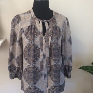 Joie grey and taupe silk blouse