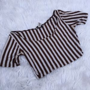 BROWN STRIPED CROP TOP SZ SMALL