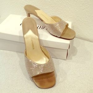 Caparros Shoes - Caparros Champagne Beaded Slides