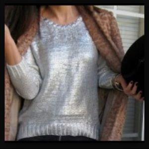 NWT H&M metallic silver  sweater