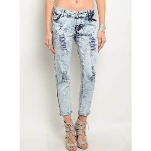 """""""Faded"""" Acid Wash Distressed Jeans"""