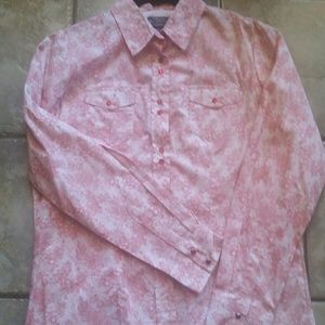 Red and white western shirt by Shyanne. SZ XL